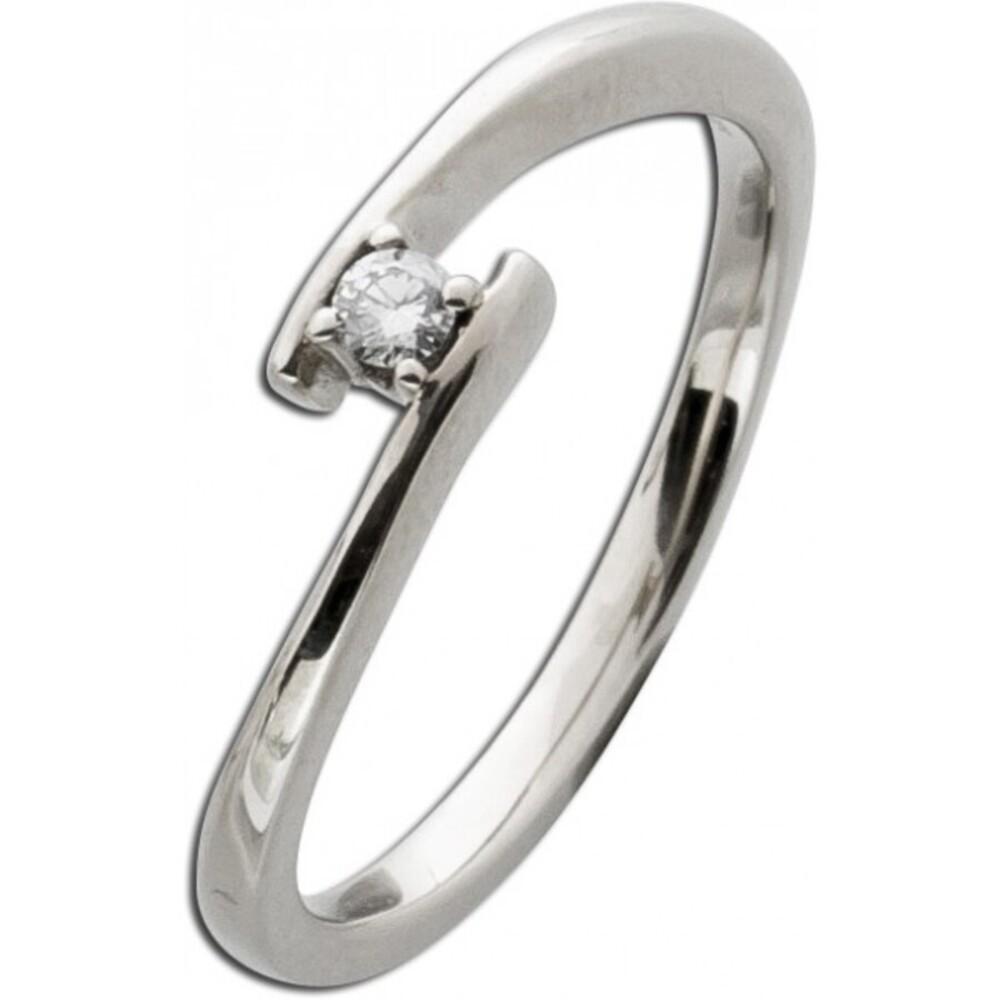 Brillantring Weißgold 585 Verlobungsring Brillanz Ring Diamant 14kt 0,05ct W/SI Solitär Verschnittfassung_02