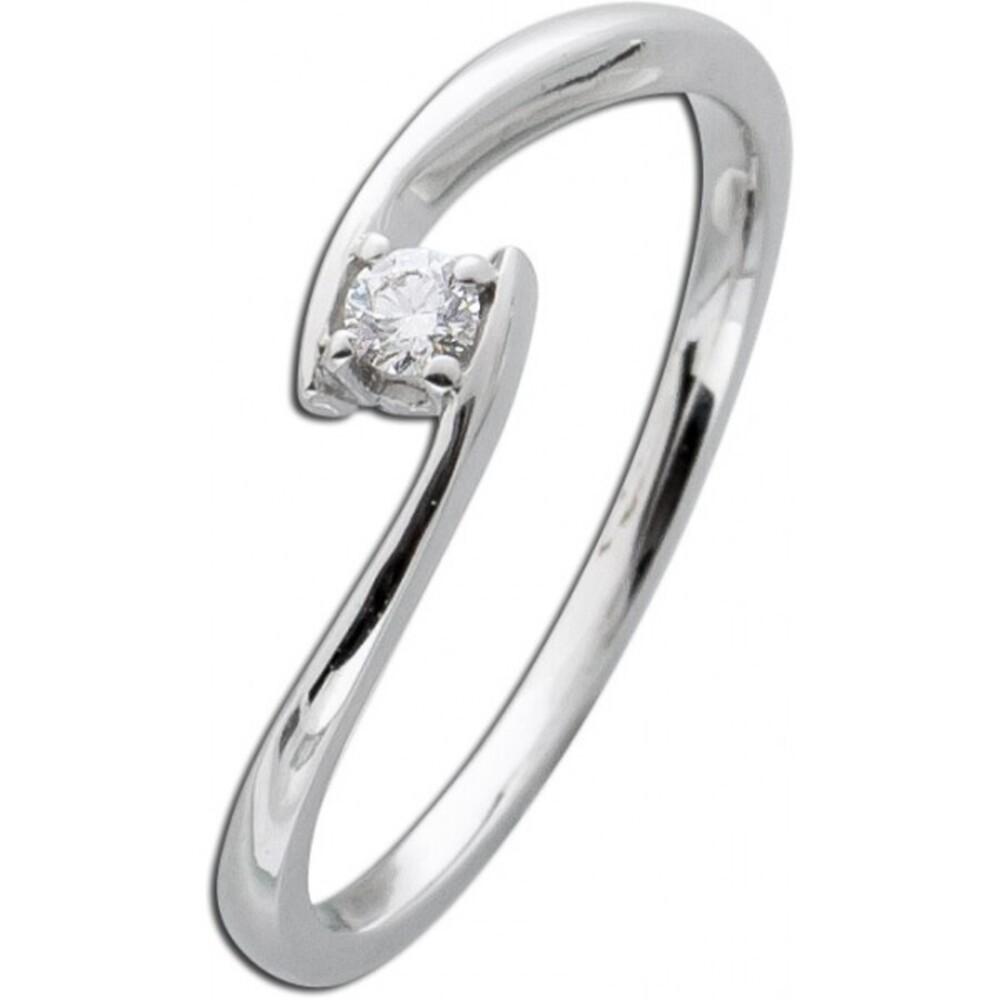 Diamantring Solitär Weißgold 585 Diamant Ring Brillant Verlobungsring 0,10ct W/SI Vorsteckring Verschnittfassung_02