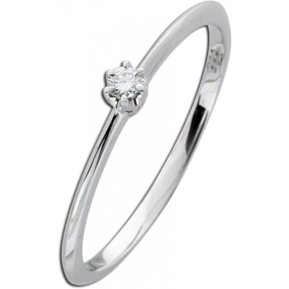 Solitärring Diamant Ring Brillant Weißgold 585 Verlobungsring Vorsteckring 0,05ct W/SI Krappenfassung_02