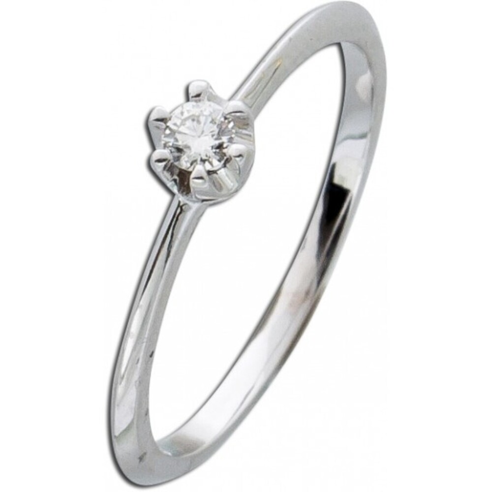 Solitärring Diamant Brillant Ring Weißgold 585 Verlobungsring 0,10ct W/SI 14kt Vorsteckring Krappenfassung_02