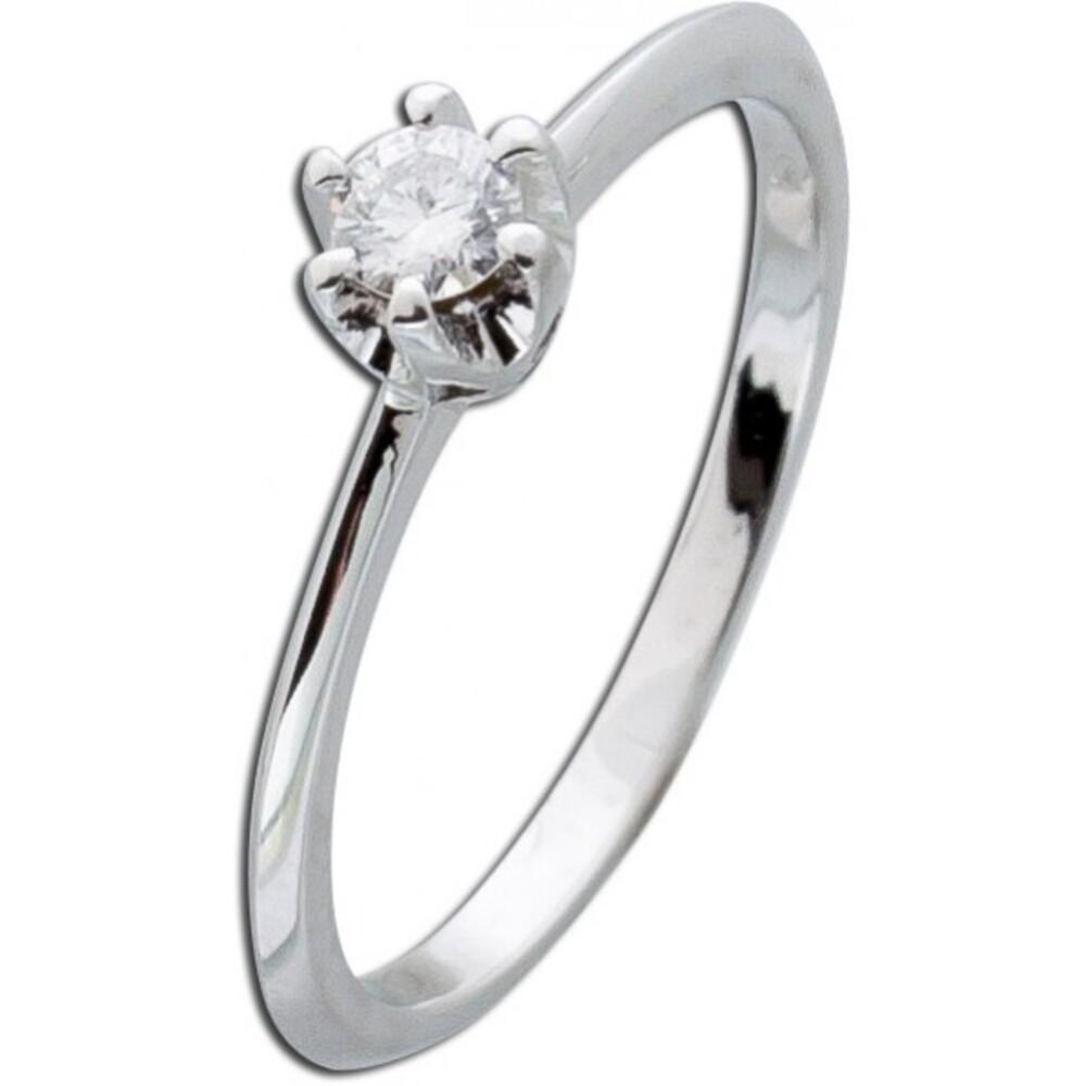 Solitärring Weißgold 585 Brillant Diamant 0,15ct W/SI Verlobungsring Vorsteckring Krappenfassung_02