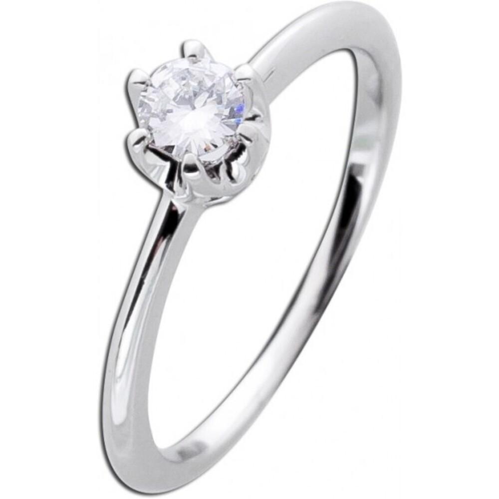 Brillantring Solitärring Diamant Ring Weißgold 585 Verlobungsring 14kt 0,25ct W/SI Vorsteckring Krappenfassung_02