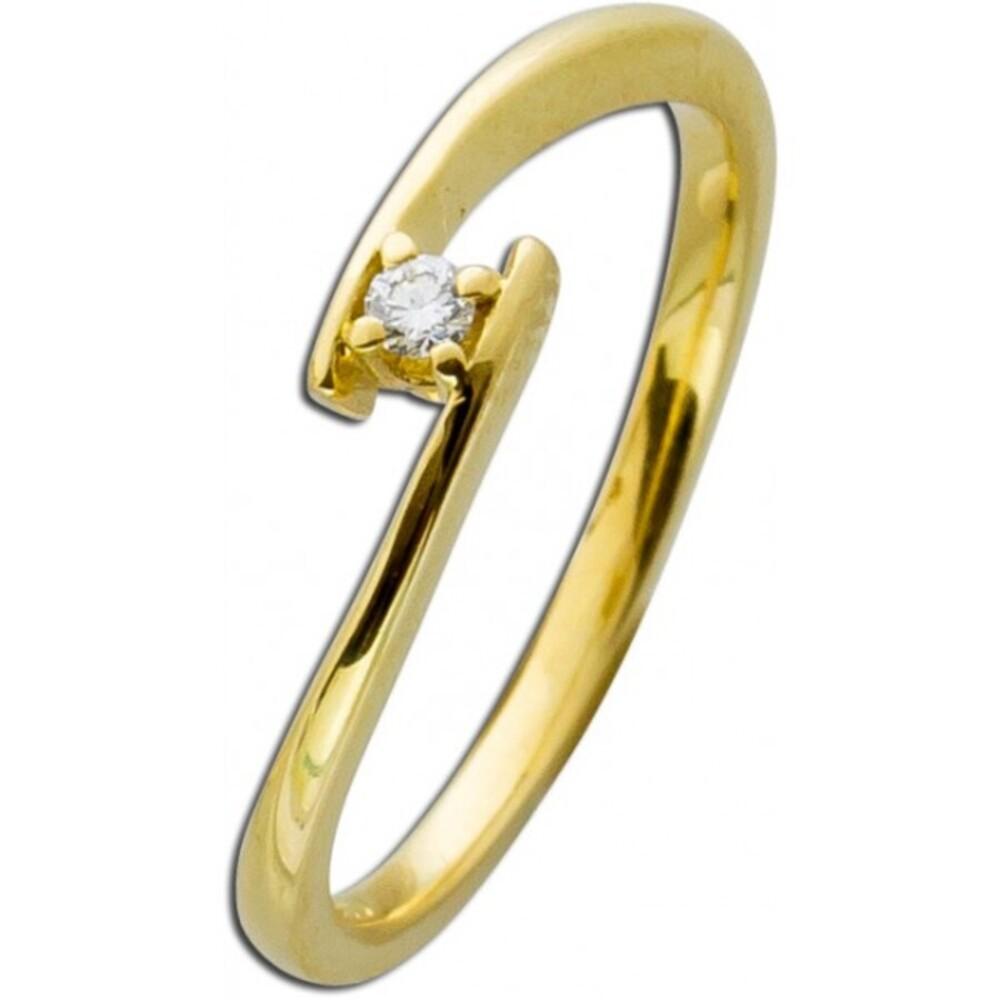 Diamantring Gelbgold 585 Diamant 0,05ct W/SI Brillant Schliff Verlobungsring