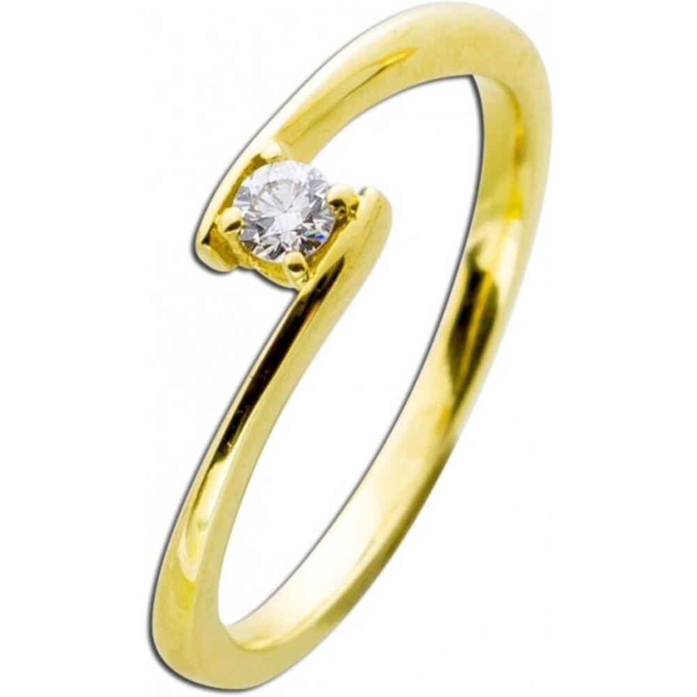 Brillantring Gold 585 Diamant Ring Solitär Brillant Solitärring 0,10ct W/SI Verlobungsring Verschnittfassung_02