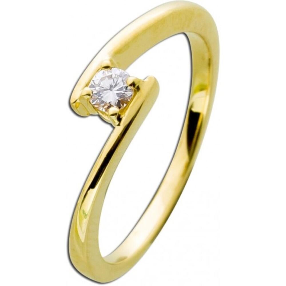 Diamantring Gold 585 Diamant Ring Brillant Verlobungsring 0,15ct W/SI Vorsteckring Verschnittfassung_02