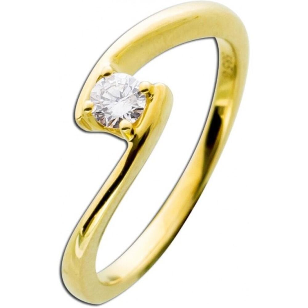 Diamantring Gelbgold 585 - 0,20ct W/SI Brillant Schliff Verlobungsring Vorsteckring