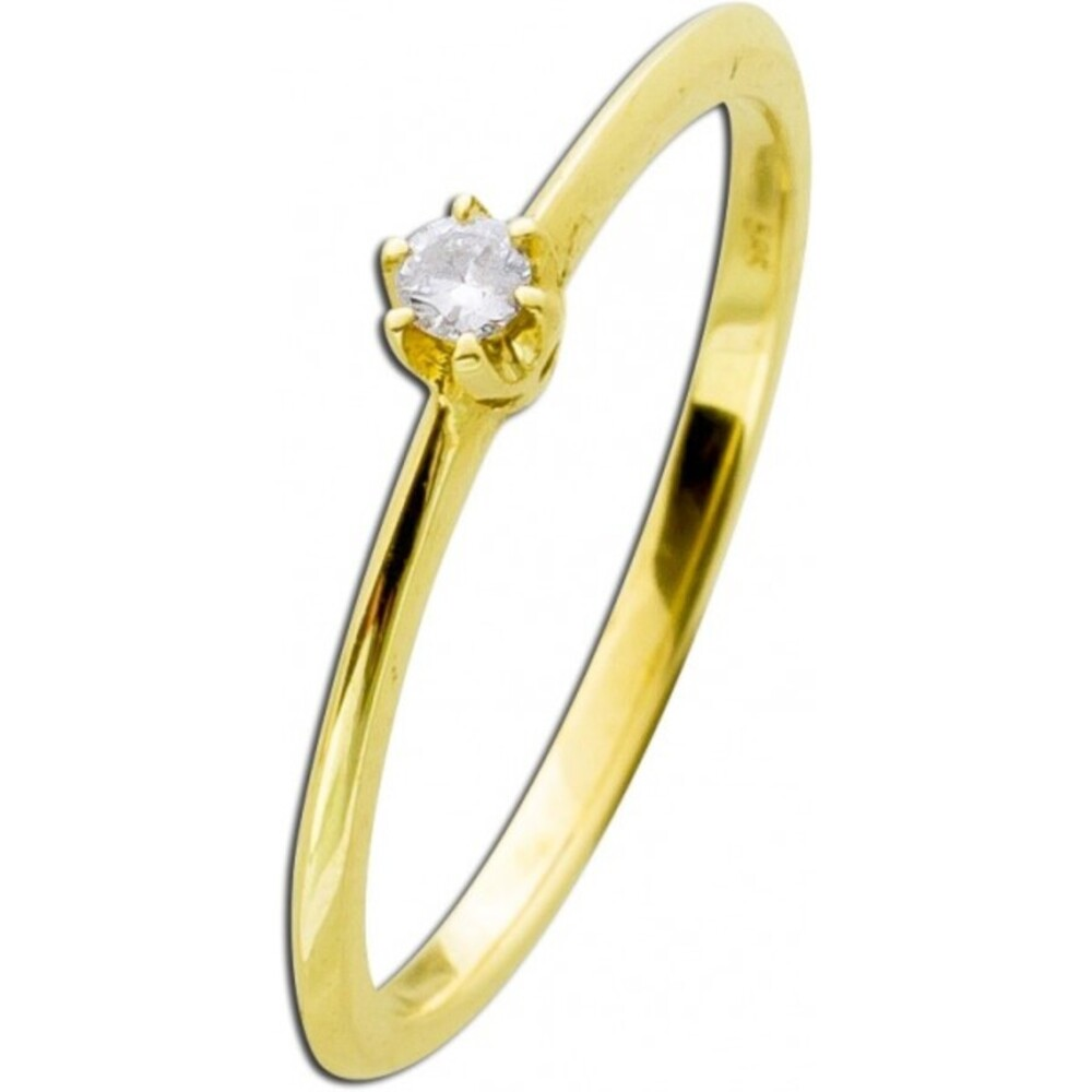 Verlobungsring Diamant Gelbgold 585 0,05ct W/SI Brillant Schliff Krappenfassung Vorsteckring