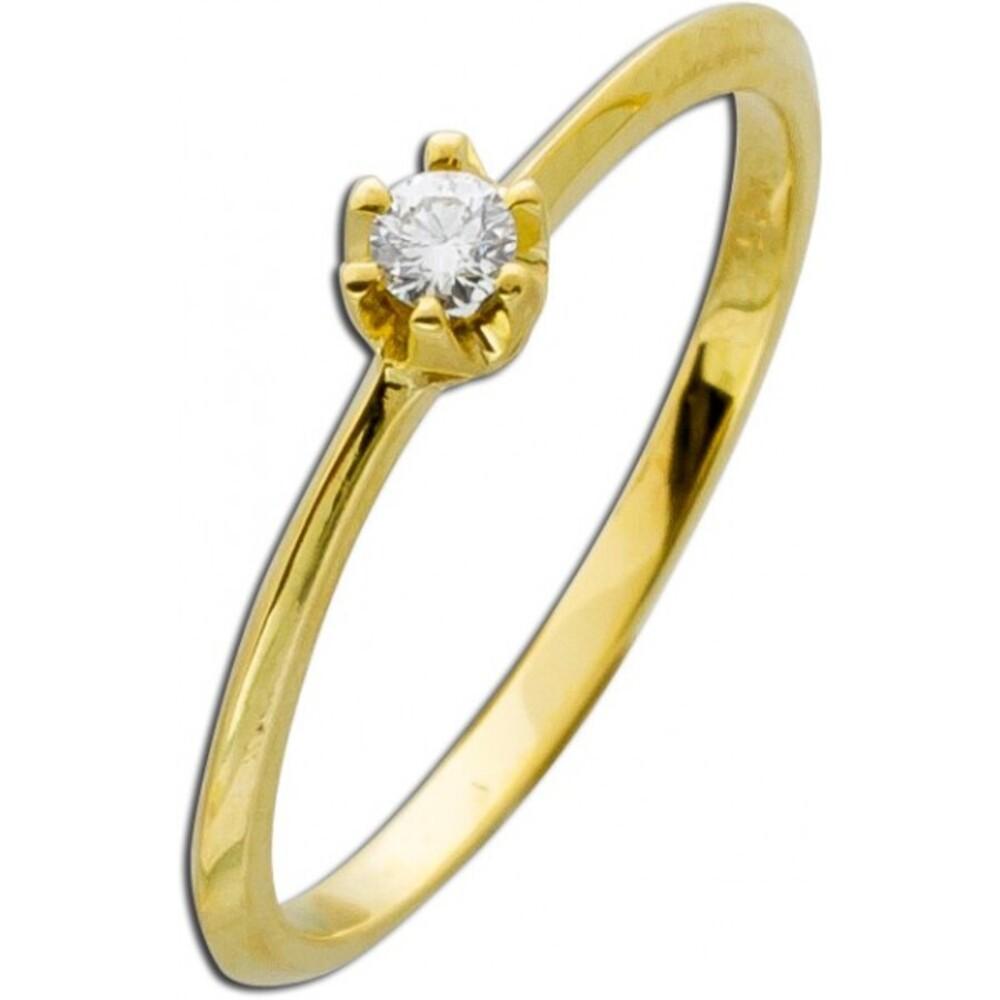 Verlobungsring Diamant Gold 585 Ring Brillant 14kt Vorsteckring Solitär 0,10ct W/SI Krappenfassung_02