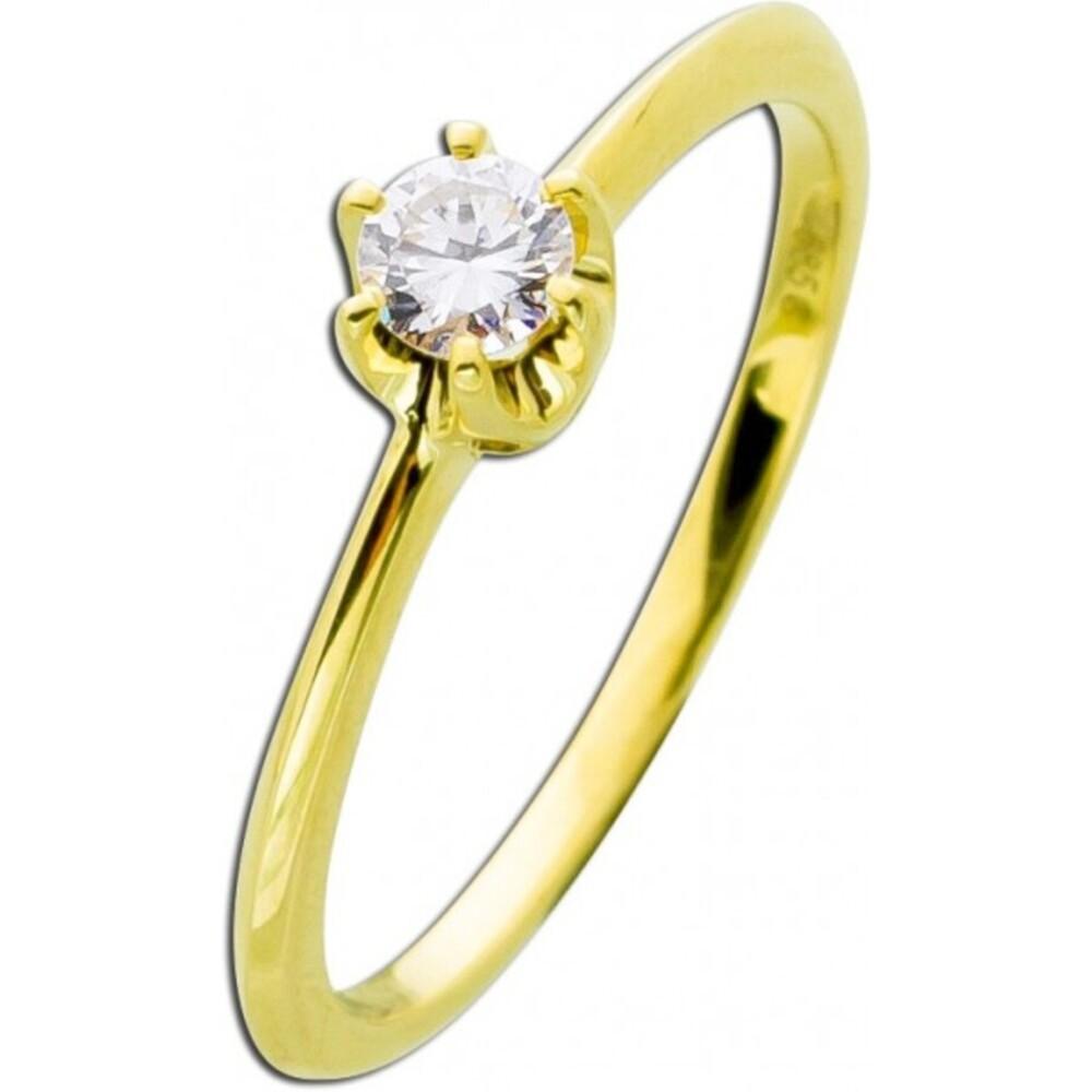 Verlobungsring Brillant Gold 585 Diamant Ring 14kt Solitärring 0,20ct W/SI Krappenfassung Vorsteckring_02