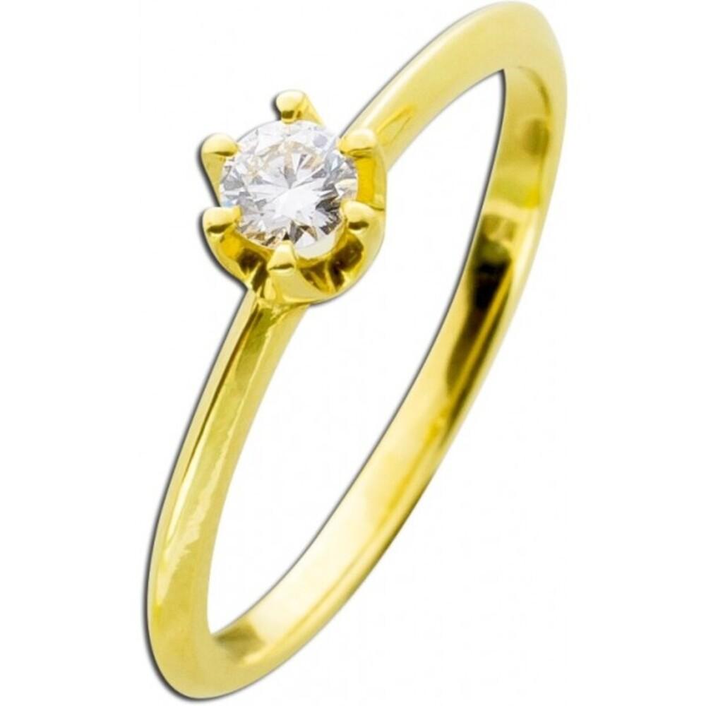 Verlobungsring Diamant 14kt Gold 585 Brillant Solitär Vorsteckring 0,25ct W/SI Krappenfassung Brillantring_02