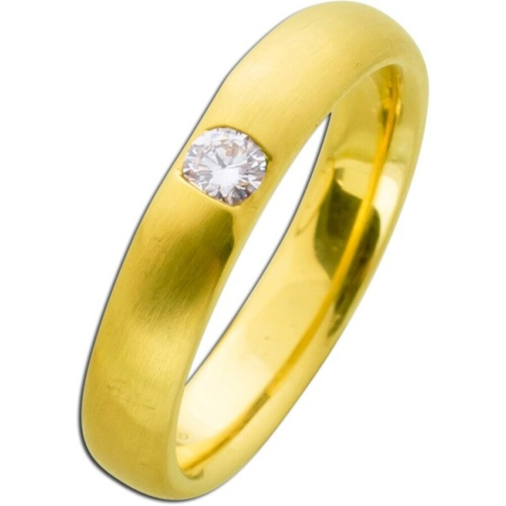 Brillantring Gold 585 Diamant Ring 0,15ct W/SI Brillant Verlobungsring mattiert Solitär Spannring Optik massiv Goldschmuck Bandring_02