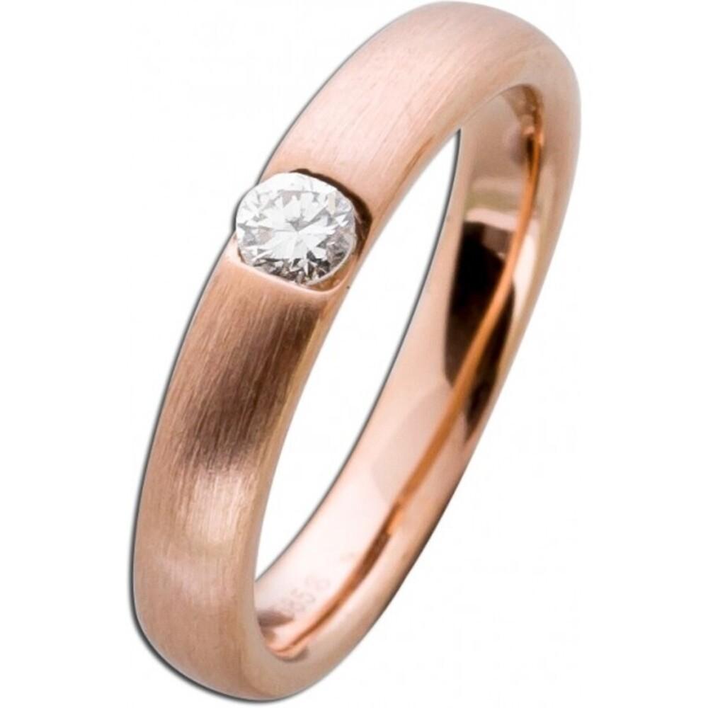 Diamantring Rotgold 585 Brillant Ring 0,15ct W/SI Diamant Gold mattiert Spannring Solitär Verlobungsring massiv Goldschmuck Bandring_02