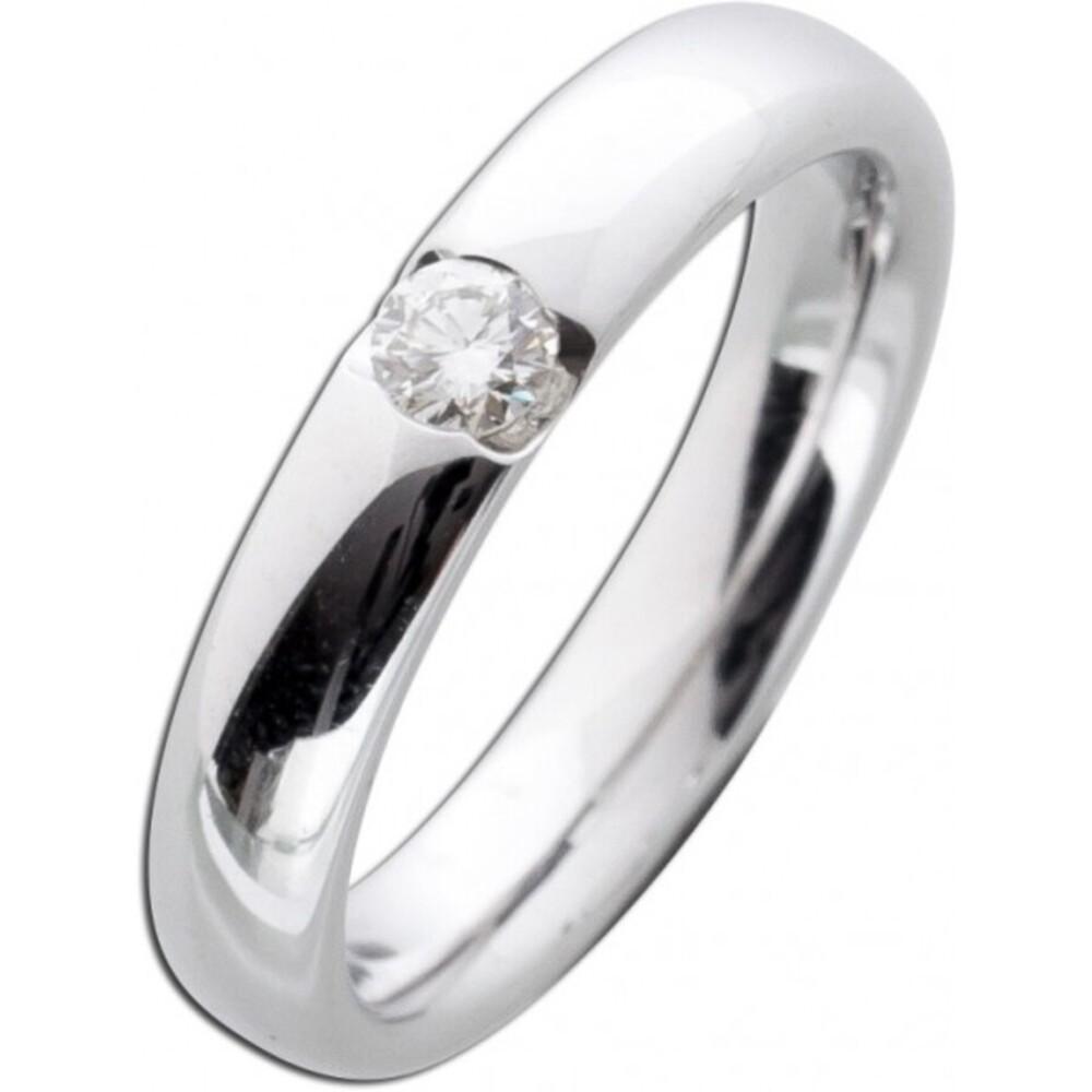Verlobungsring Weißgold 585 Brillant Ring 0,15ct W/SI Diamant Gold Spannring Solitär massiv Goldschmuck Bandring_02