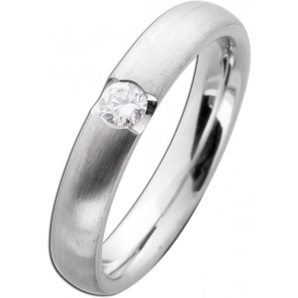 Diamantring Weißgold 585 Brillant Ring 0,15ct W/SI Diamant Gold mattiert Verlobungsring Spannring Solitär massiv Goldschmuck Bandring_02