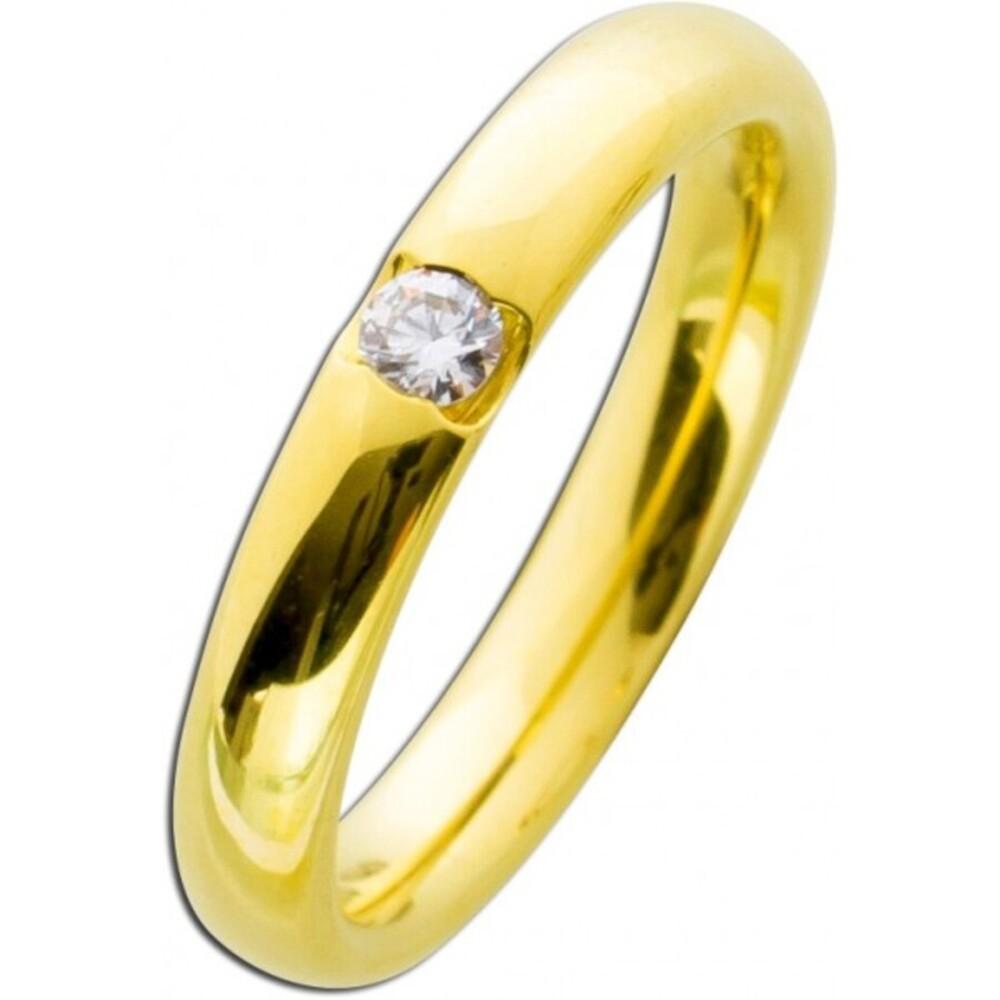 Vorsteckring Gelbgold 585 poliert - Brillant 0,10ct W/SI  Diamantring Bandring Verlobungsring Brillantring