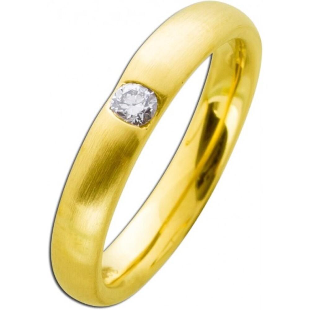 Vorsteckring  Gelbgold 585 mattiert  Brillant 0,10ct W/SI  Diamantring Bandring Verlobungsring Brillantring
