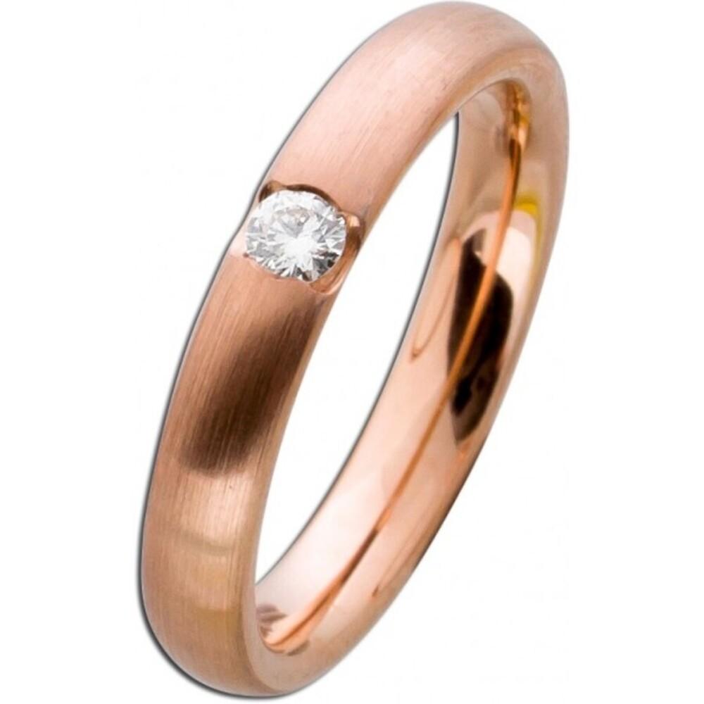 Mattierter Damenring Rotgold 585 - Diamant Brillantschliff  0,10ct W/SI Verlobungsring Vorsteckring Brillantring Bandring Diamantring Rosegold