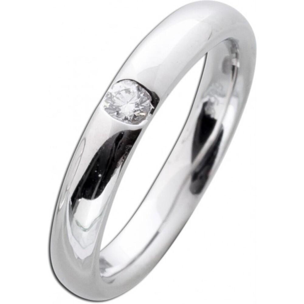 Bandring Diamant Weißgoldring 585 poliert Brillant 0,10ct W/SI Verlobungsring Vorsteckring Briillantring
