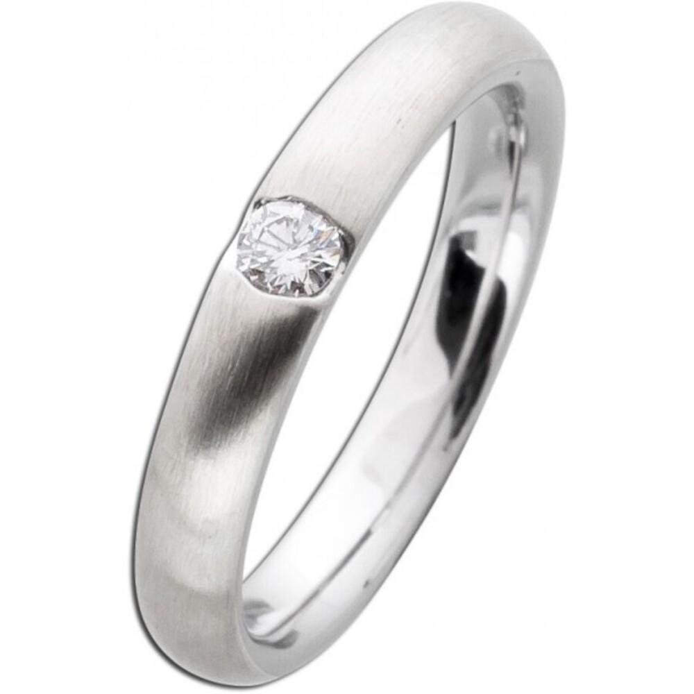 Damenring Weißgold 585 mattiert - Diamant Brillantschliff 0,10ct W/SI Bandring Diamantring Brillantring Verlobungsring Vorsteckring