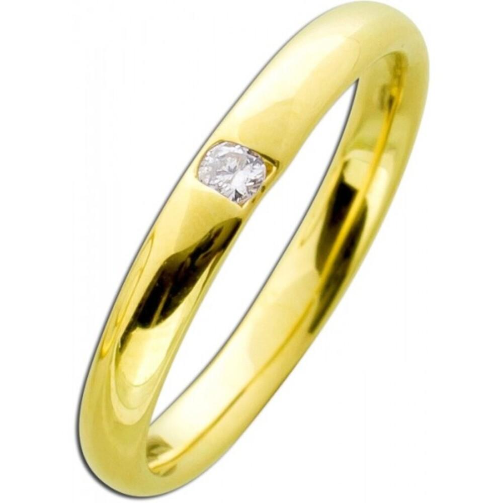 Gelbgoldring 585 poliert  - Brillant 0,05ct W/SI Vorsteckring