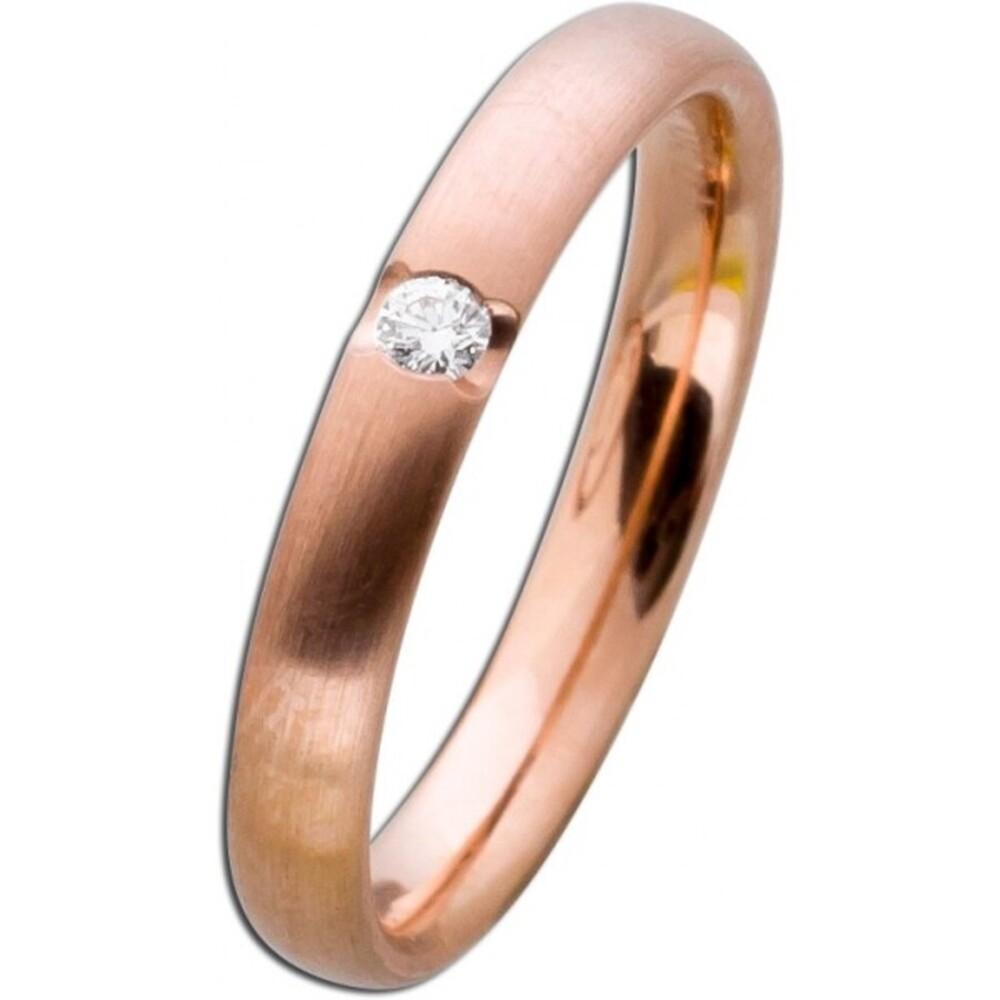 Damenring Rotgold 585 mattiert - Diamant 0,05ct W/SI Brillantschliff Verlobungsring Vorsteckring Brillantring Bandring