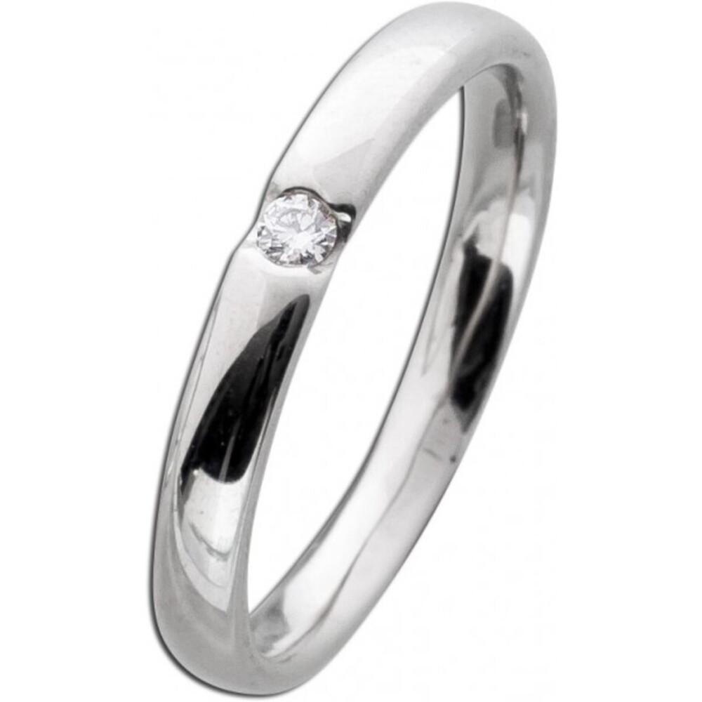 Brillantring Weißgold 585 poliert 1 Diamant 0,05ct W/SI Brillant Schliff  Diamantring Verlobungsring Vorsteckring Bandring