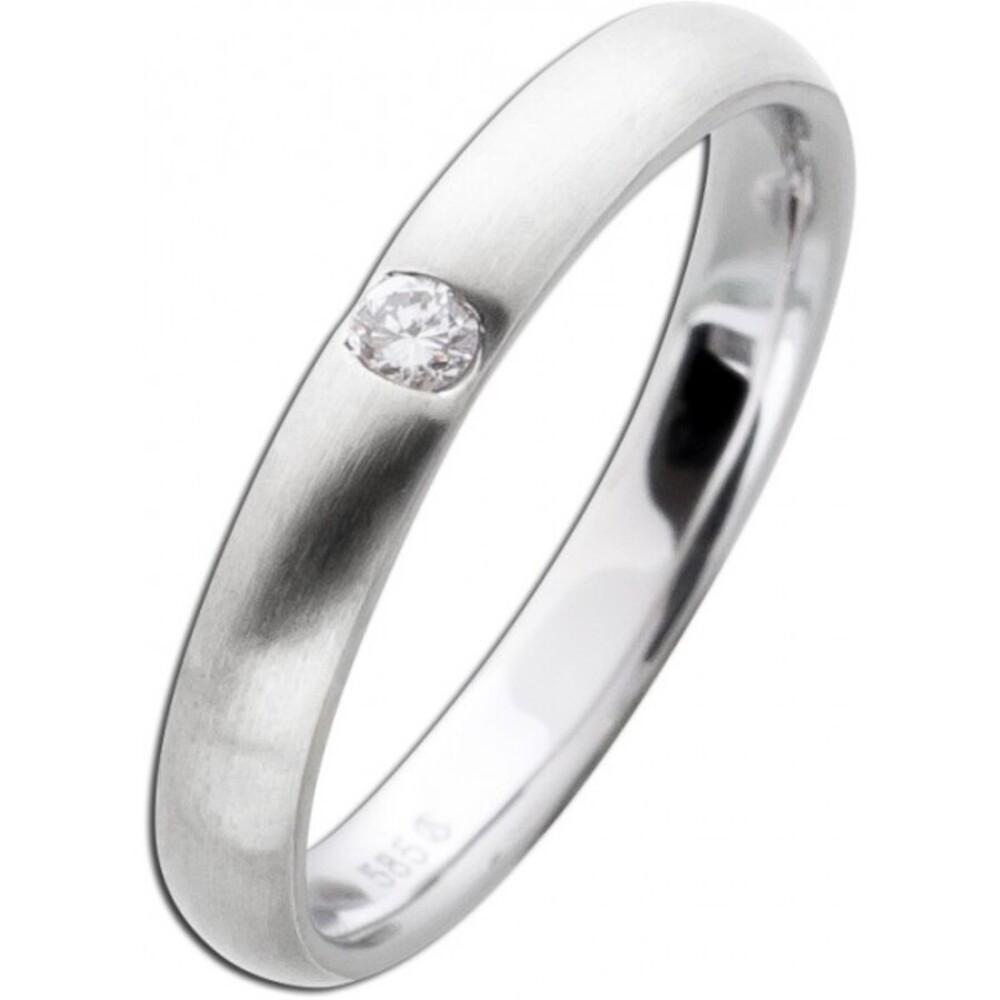Brillantring Damenring Weißgold 585 mattiert Brillant 0,05ct W/SI Diamantring Vorsteckring Verlobungsring