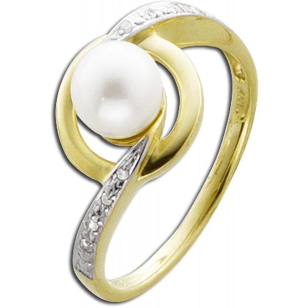 Weißer Perlenring Gelb Gold 333/- Diamant  Süßwasserzuchtperle _01