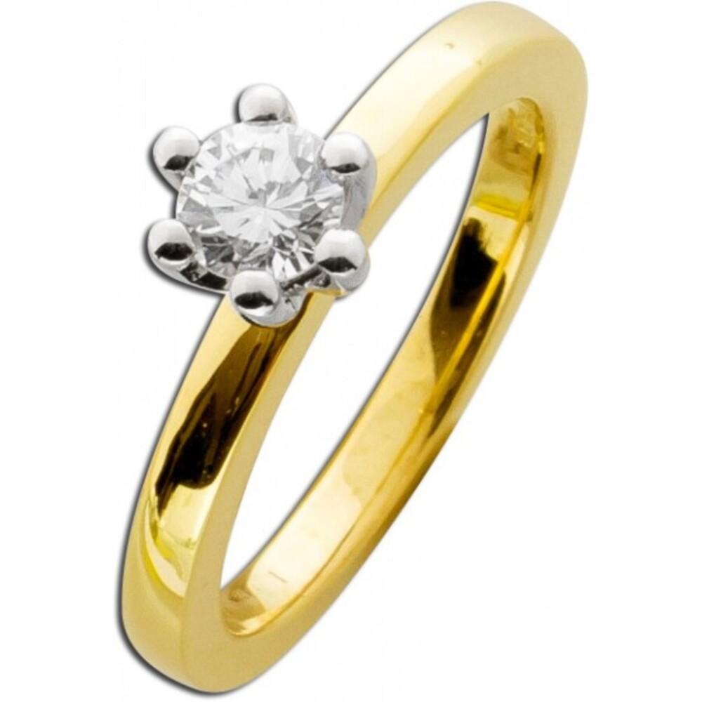 Verlobungsring weißer Diamant Gelbgold 585 0,50ct W/SI Brillant Schliff