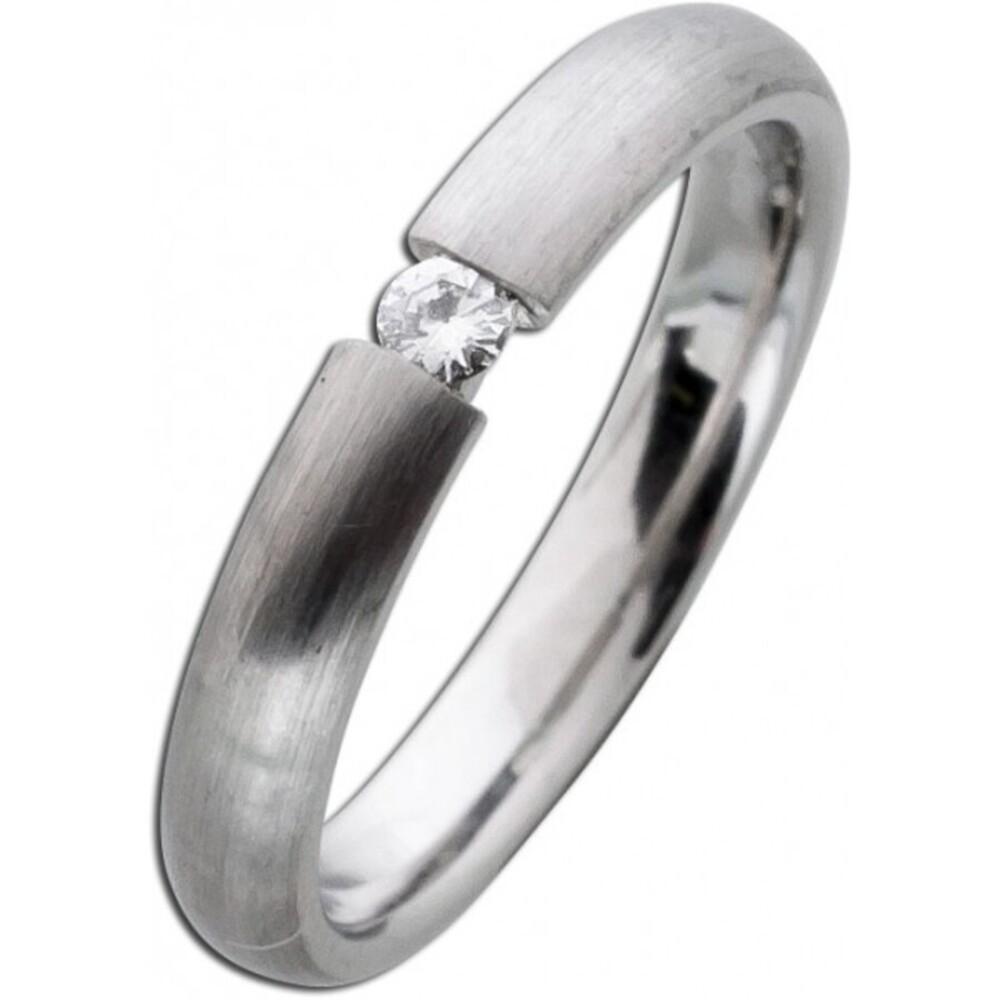 Diamandbandring weiß grau längsmattiert Platin 950 Brillant 0,05ct W/SI Spannring Optik
