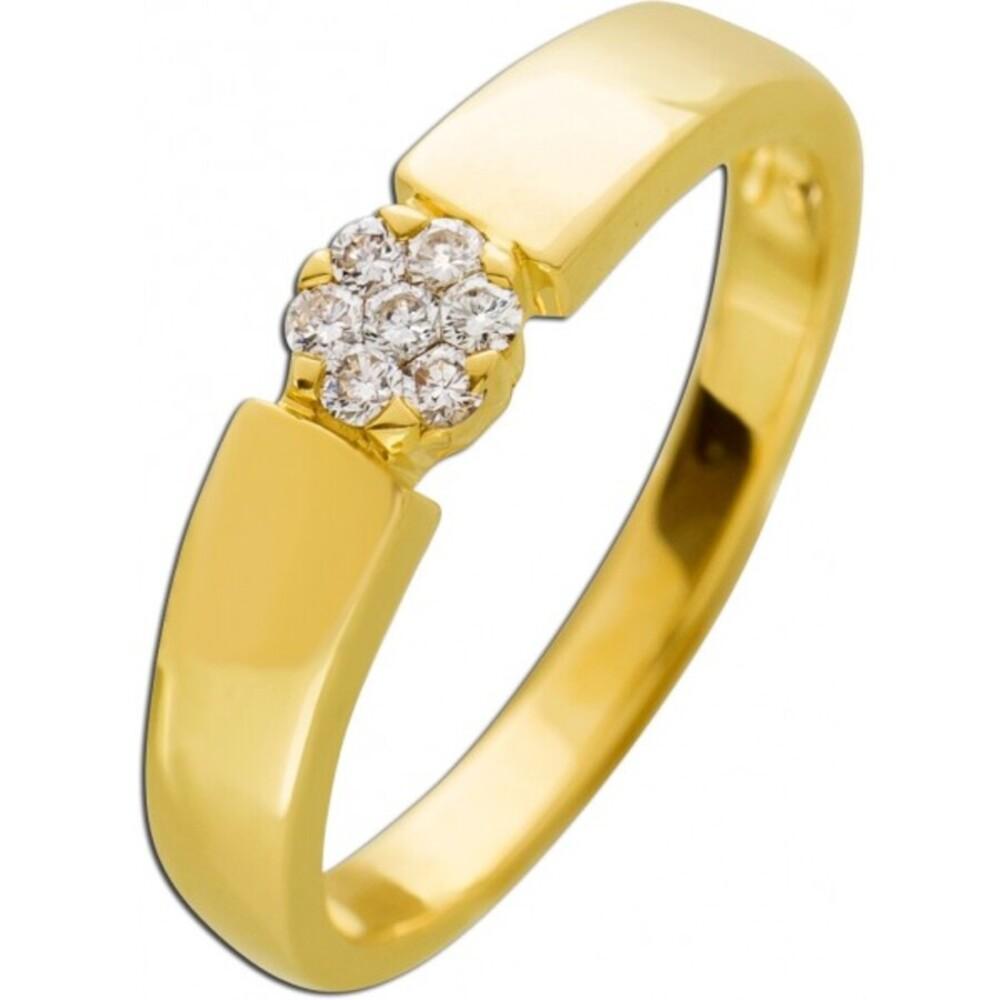 Brillantring Gelb Gold 585 Diamant 0,14ct W/SI_01