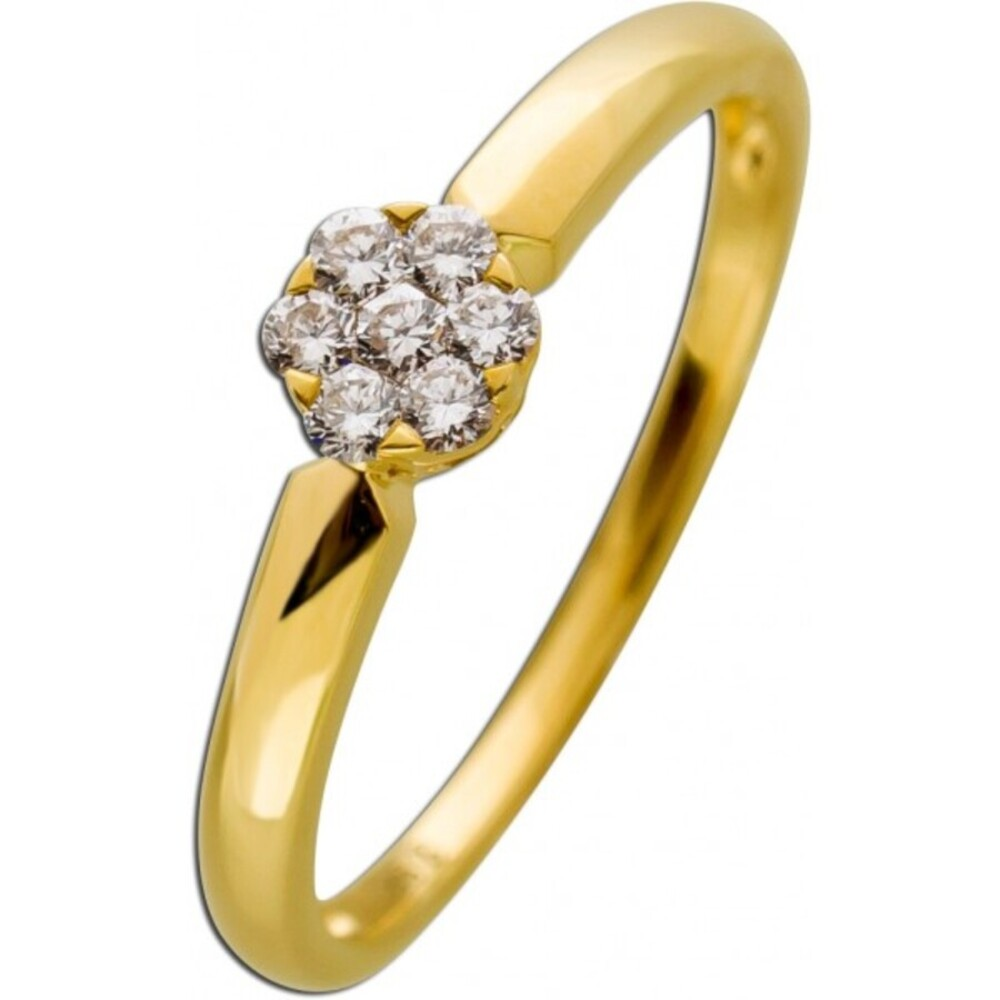 Brillantring Gelb Gold 585 Diamant 0,14ct W/SI_01