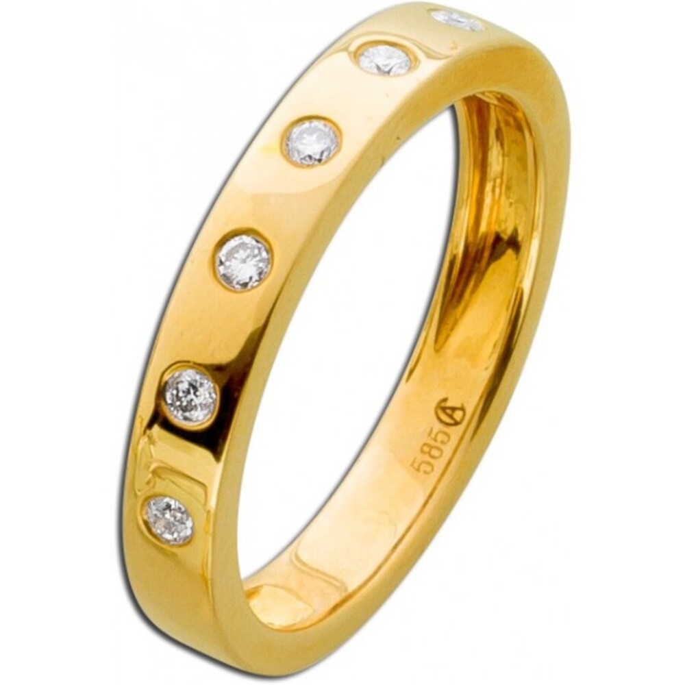 Vorsteckring Gelb Gold 585 Diamant Brillant 0,14ct W/SI Memory Ring_01