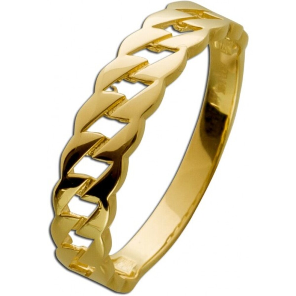Ketten Ring Gelb Gold 333 Kettenring Motiv Damen Goldring _0
