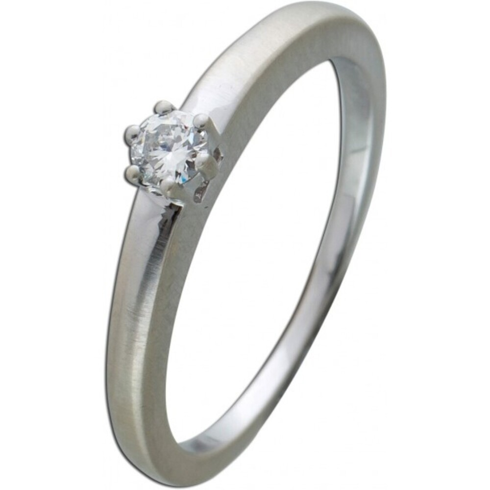 Brillantring Diamantring Solitaer Platin 950 Diamant Brillant 0,10 Carat TW / Lupenrein