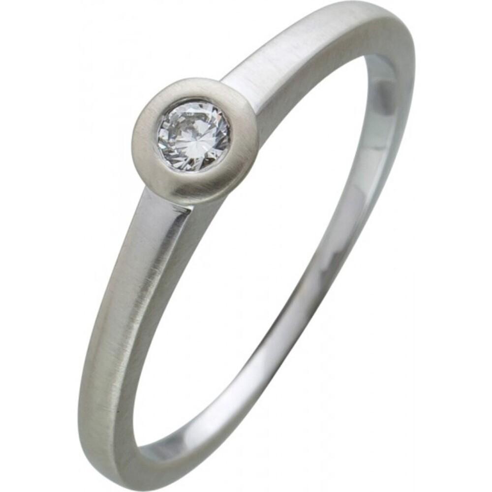 Brillantring Diamantring Solitaer Platin 950 Diamant Brillant 0,10 Carat TW / Lupenrein Zargengefasst