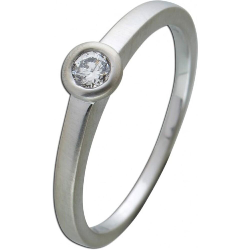 Brillantring Diamantring Solitaer Platin 950 Diamant Brillant 0,15 Carat TW / Lupenrein Zargengefasst