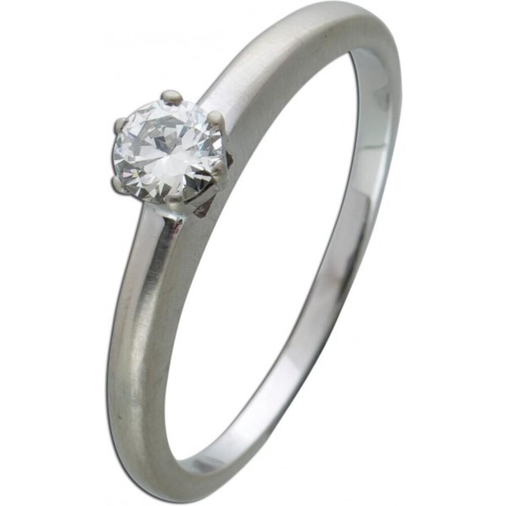 Brillantring Diamantring Solitaer Platin 950 Diamant Brillant 0,30 Carat TW / Lupenrein