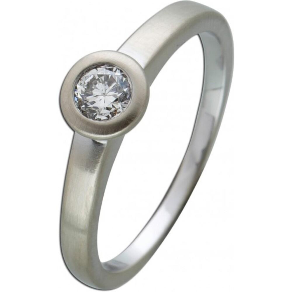 Brillantring Diamantring Solitaer Platin 950 Diamant Brillant 0,30 Carat TW / Lupenrein Zargengefasst