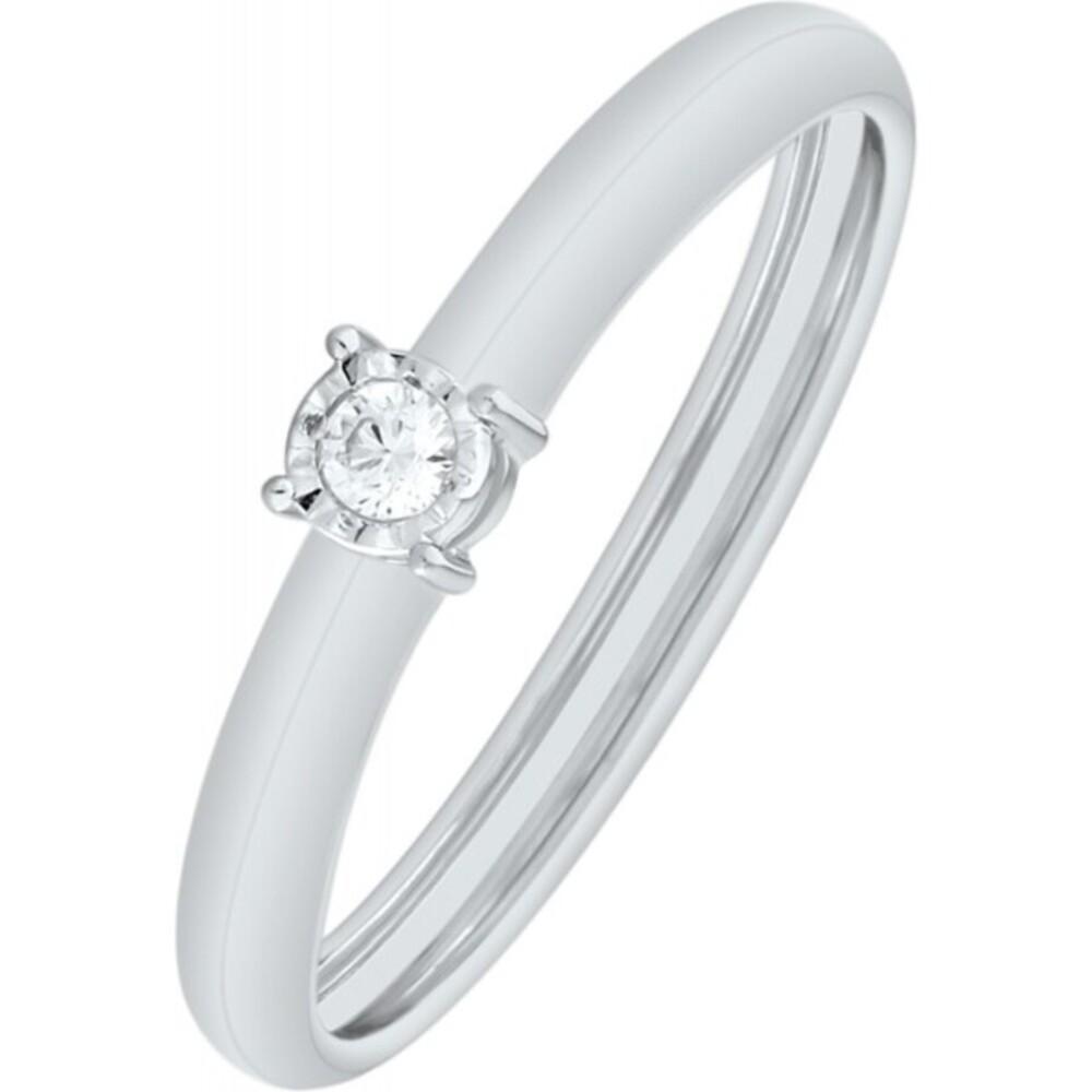 Solitär Ring Weissgold 375 Diamant Brillant 0,04ct W/I1 Krappenfassung Verlobungsring