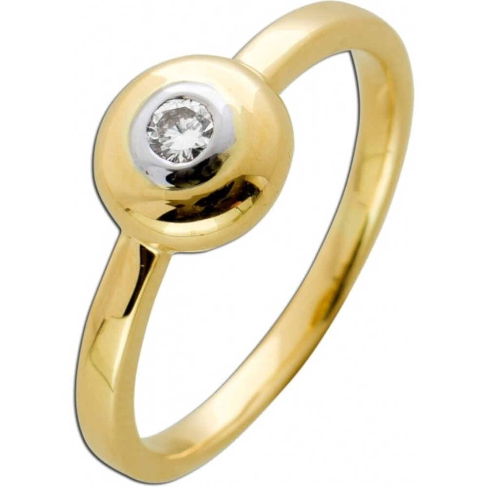 Solitär Ring Gelb Weissgold 585 massiv Diamant Brillant 0,10ct M/SI Verlobungring Vorsteckring