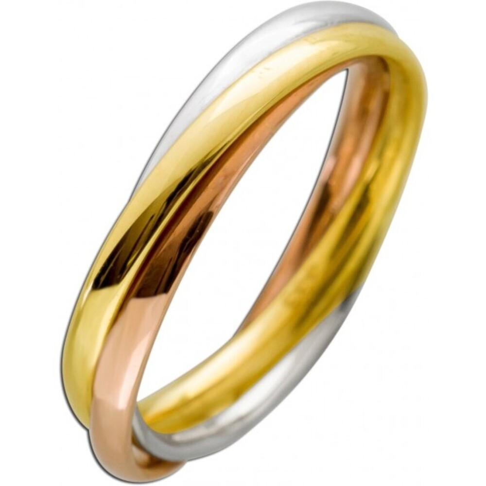 Tricolor Ring Gelbgold Rosegold Weissgold 333 3,7mm Breite Damenschmuck