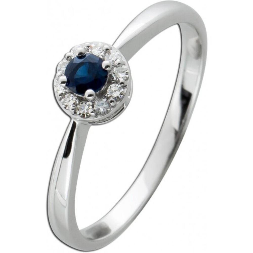 Ring Weissgold 585 mit einem blauen Saphir 0,14ct und10 Diamanten 8/8 W/SI zus.0,08ct 17-20mm