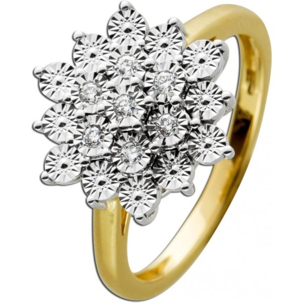 Ring Gelbgold 585 mit 7 Diamanten zus. 0,08ct 8/8 W/SI, optisch 100 Diamanten 17-19mm