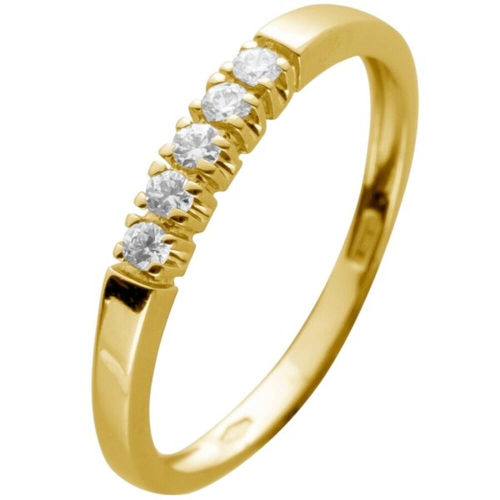 Memoire Alliance Ring Gelbgold 375 mit 5 funkelnden Zirkonia Breite 2,5mm