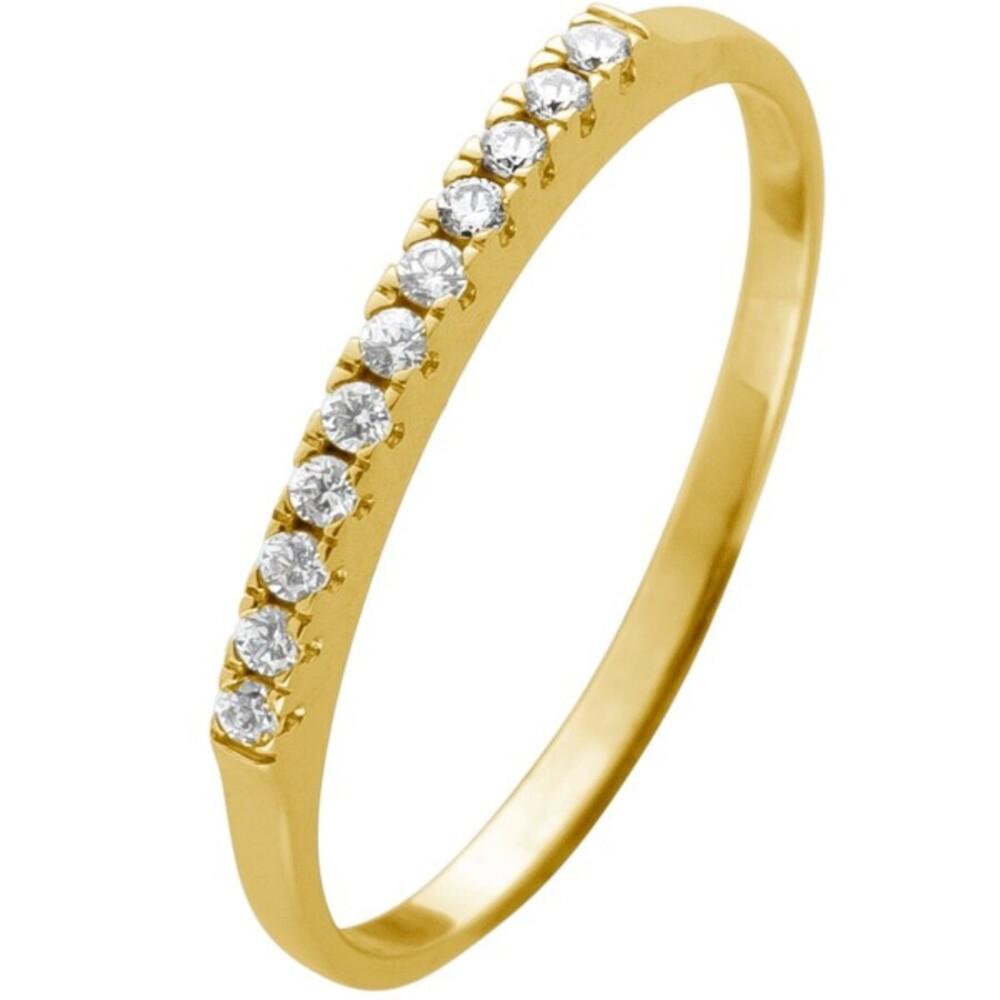 Memoire Alliance Ring Gelbgold 375 mit 11 Zirkonia Steinen Breite 1,5mm