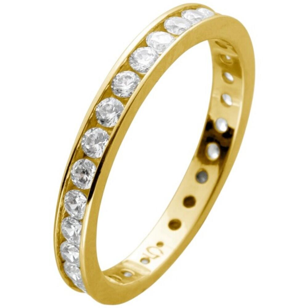 Memoire Alliance Ring Gelbgold 375 mit Zirkonia rundum gefasst