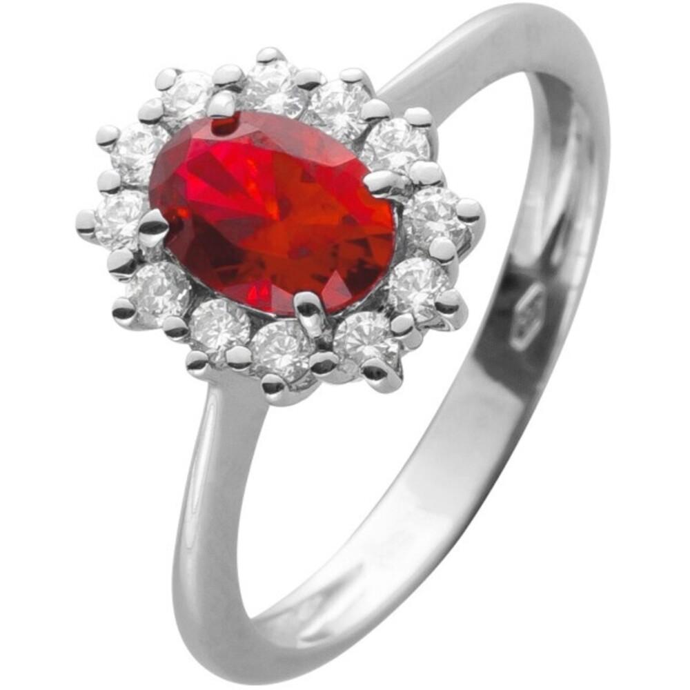 Ring Weissgold 375 mit einem roten synth. Rubin und 12 Zirkonia