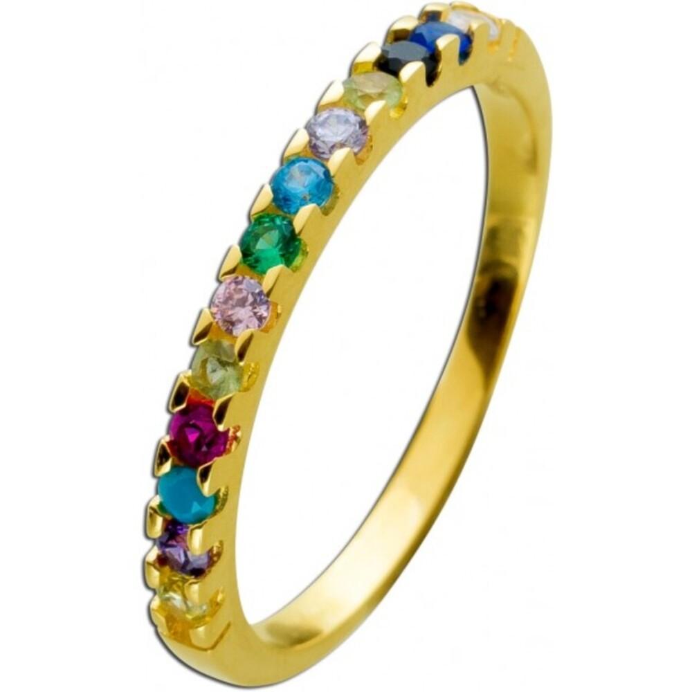 Memoire Alliance Ring Gelbgold 333 8 Karat mit bunten Zirkonia Steinen In den Größen 16-20mm erhältlich