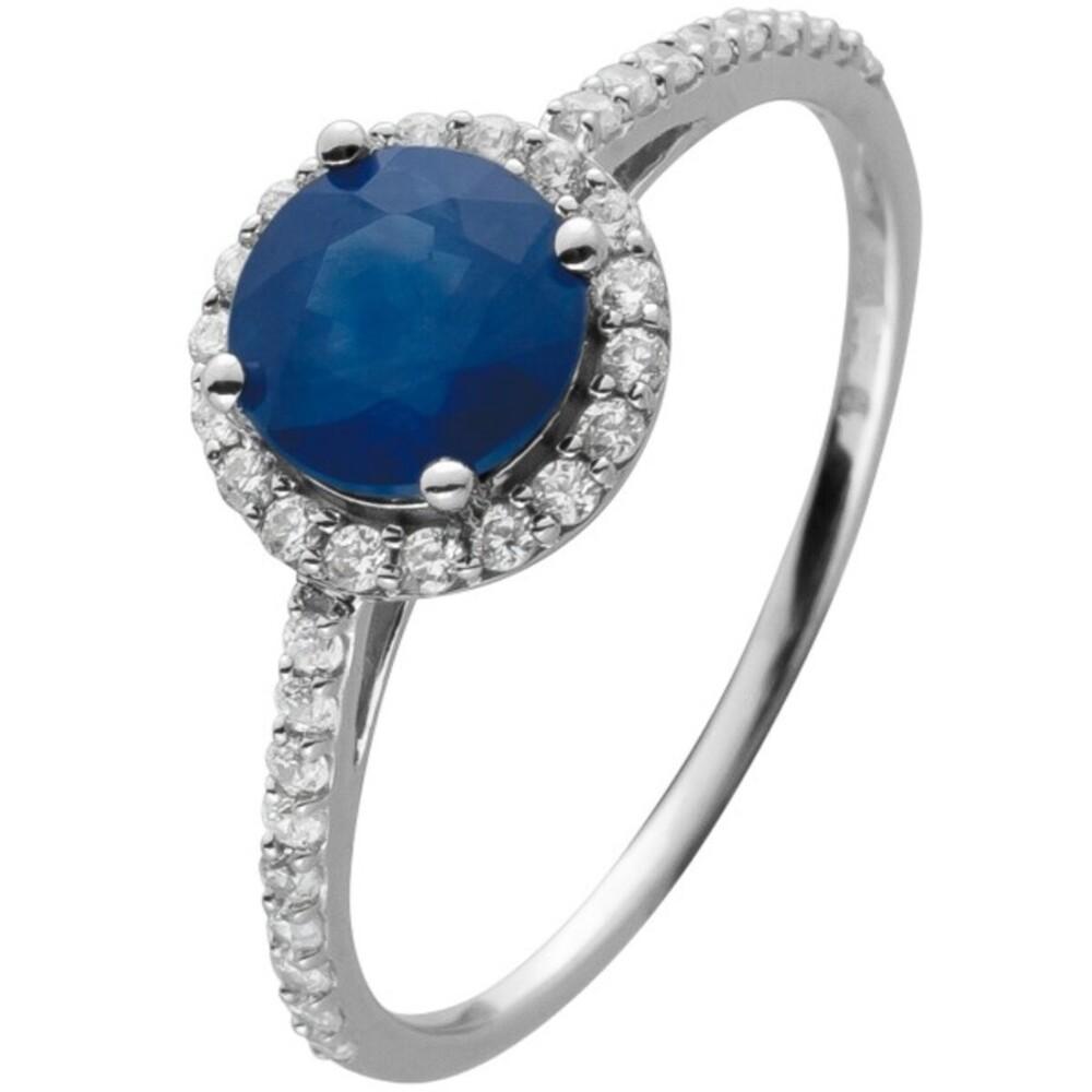 Ring Weissgold 14 Karat 36 Diamanten 0,21ct W/SI 8/8 1 Saphir Edelstein
